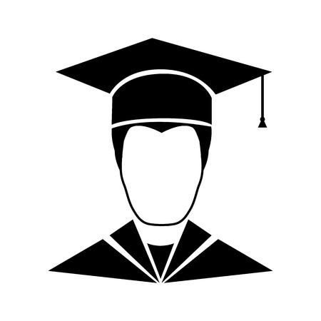 graduate student: Graduate student icon isolated on white background