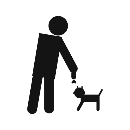 man standing alone: Man and dog icon isolated on white background