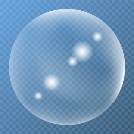 water texture: Unique bubble with glare icon on a blue background Illustration
