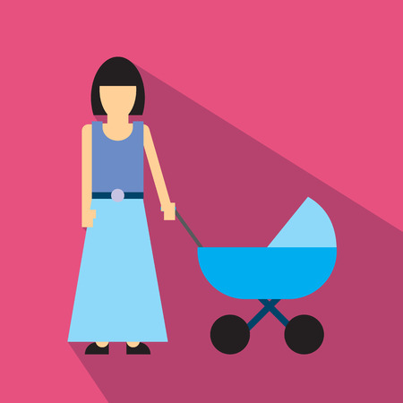 mother and baby: Mother with baby carriage flat icon isolated on white background Illustration