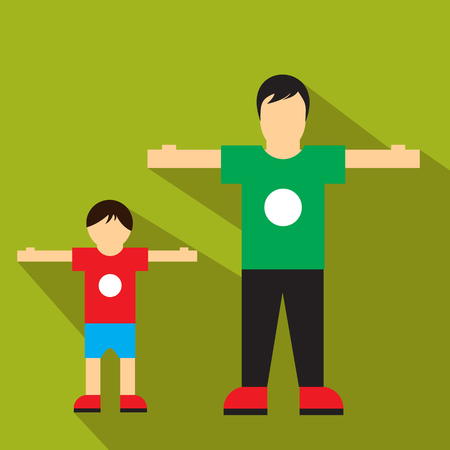 person icon: Man and children flat icon isolated on white background Illustration