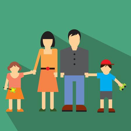 jeune fille: Famille ic�ne plat pour le web ou appareil mobile
