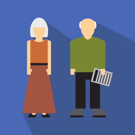 age old: Man and woman in old age flat icon isolated on white background