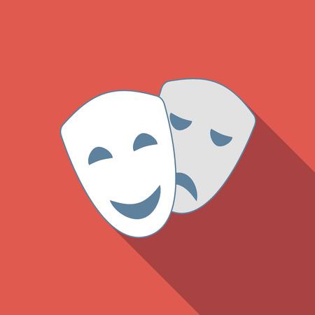 acting: Drama and comedy acting masks flat icon Illustration