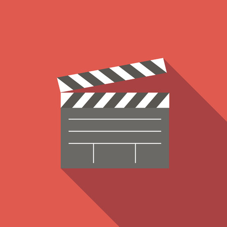 Movies: Film flat icon for web or mobile device Illustration