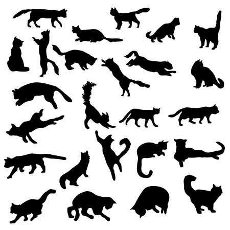 leaping: Cats silhouettes set isolated on white background Illustration