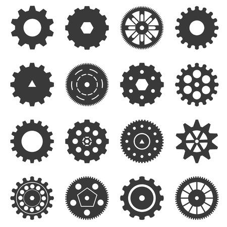 engranes: Gear conjunto de iconos aislados sobre fondo blanco