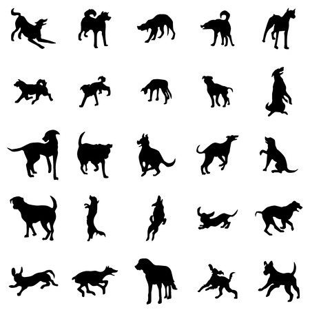shadow silhouette: Dog silhouettes set isolated on white background