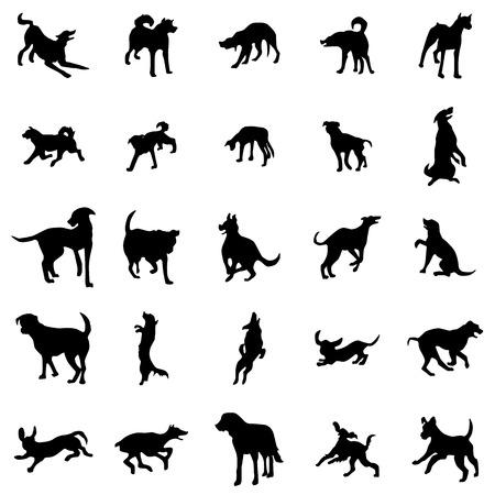 Dog silhouettes set isolated on white background