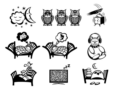 sleeping pills: Sleeping signs set isolated on white background