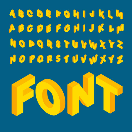 abc: Isometric alphabet font. 3D isometric letters for web and mobile device