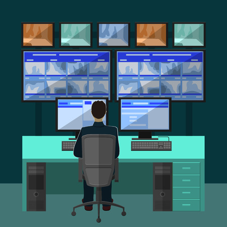 Security room in which working professionals. surveillance cameras in a flat style Vectores