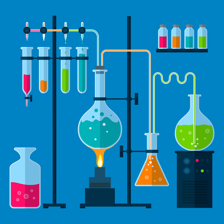 industry icons: Laboratory equipment concept for web and mobile device