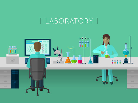 laboratory research: Laboratory flat concept for web and mobile device