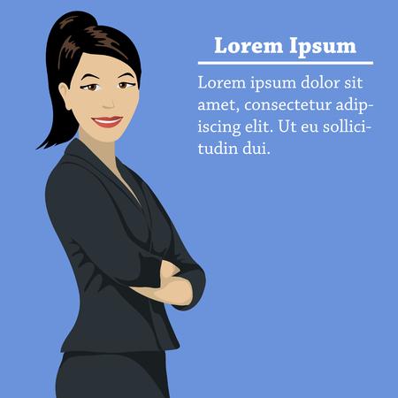femme d affaire asiatique: Asian success business woman concept concept on a blue background with space for text or logo