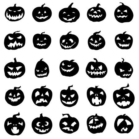 pumpkin: Siluetas de calabaza conjunto aislado sobre fondo blanco Vectores