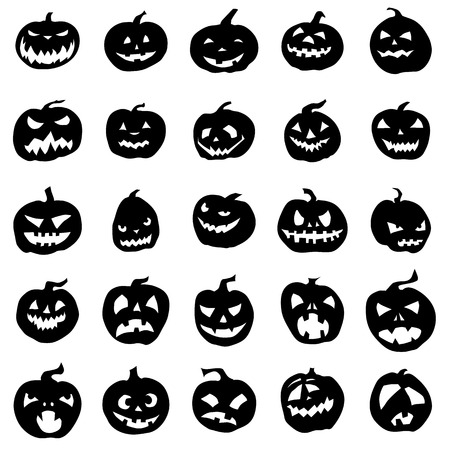 Pumpkin silhouettes set isolated on white background Illustration