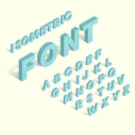 lettres alphabet: Isom�trique police alphabet bleu. lettres 3D isom�trique pour le web et appareil mobile