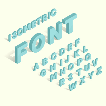font alphabet: Isometric blue alphabet font. 3D isometric letters for web and mobile device