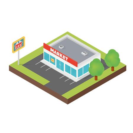 sidewalk cafe: Isometric supermarket building isolated on white background