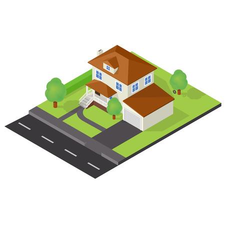 backyard: Isometric icon representing modern house with backyard. New cottage Illustration