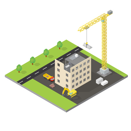 site: Isometric house under construction with cran, trucks and an excavator