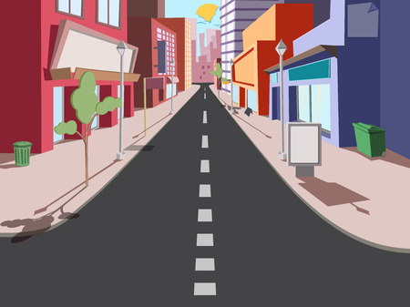 Morning cityscape in a comic style. The road to the shops Stock Illustratie