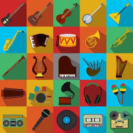 trompeta: Iconos planos Música establecidas para la web y dispositivos móviles