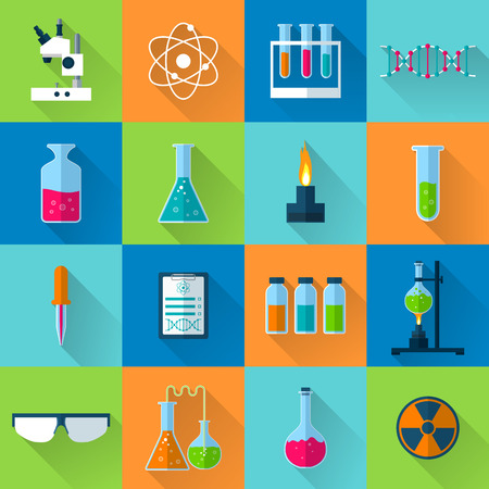 lab technician: Laboratory equipment set for web and mobile device