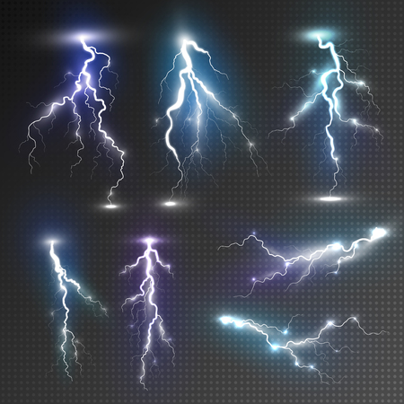 lightning storm: Realistic lightnings set with transparency for design. Magic and bright lighting effects. Natural effects Illustration