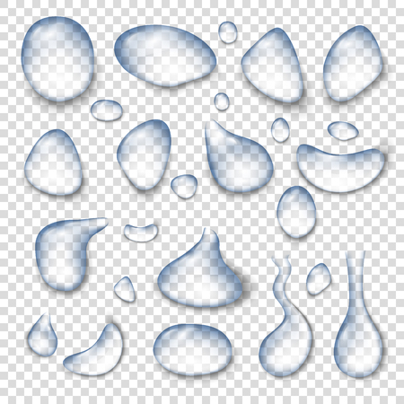 Drops of water on a transparent background