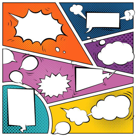 Comic speech bubbles on a comic strip background Illustration
