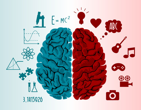 Brain infographics in two hemispheres with different thoughts
