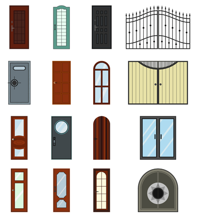 doorstep: Doors icons set in a variety of styles on a white background Illustration