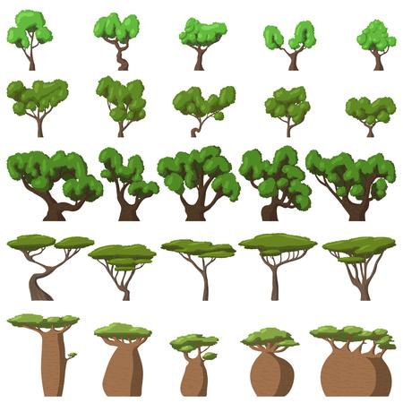 arboles de caricatura: 25 árboles de la historieta fijados en el fondo blanco para la web y dispositivos móviles Vectores