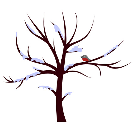 birds on branch: Tree winter sign for web and mobile device Illustration