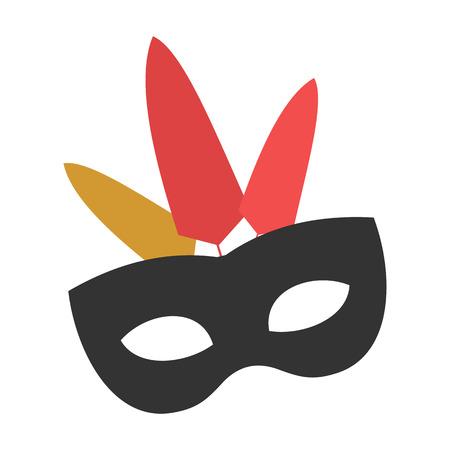 mascara de teatro: Máscara de carnaval icono plana para web y dispositivos móviles Vectores