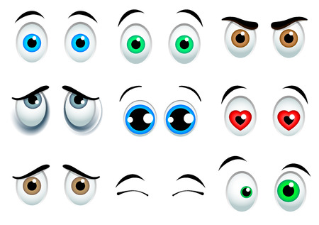 laughing face: 9 Cartoon eyes set isolated on white background