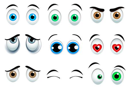 ojos caricatura: 9 ojos de dibujos animados conjunto aislado sobre fondo blanco