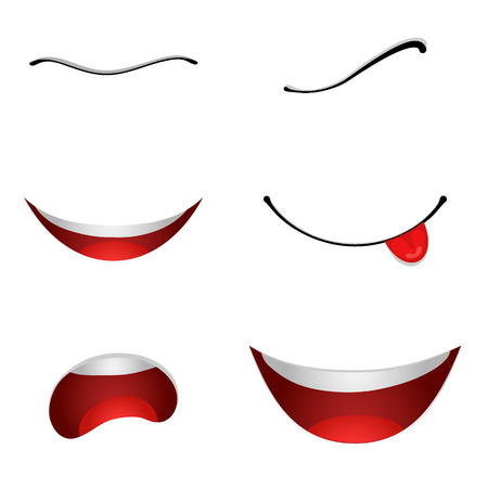 set design: 6 Cartoon mouths set isolated on white background