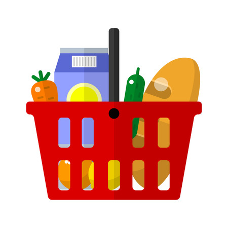 supermarket trolley: Shopping basket icon for web and mobile devices