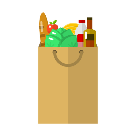 shopping bag icon: Paper package flat icon for web and mobile devices Illustration