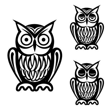 sowa: Sowa proste ikony ustaw odizolowane na białym
