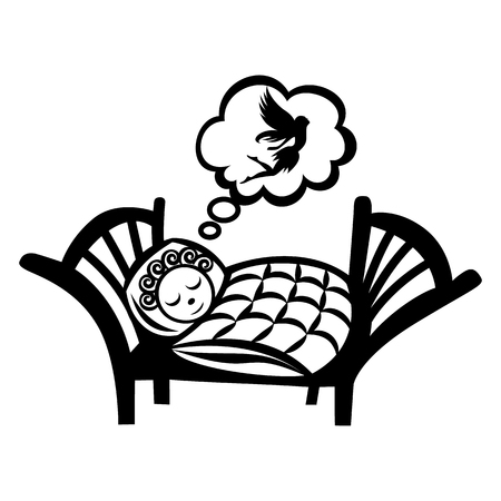 simple girl: Girl sleeping simple icon isolated on white background Illustration