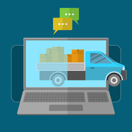 express: Express delivery concept. Laptop with a car