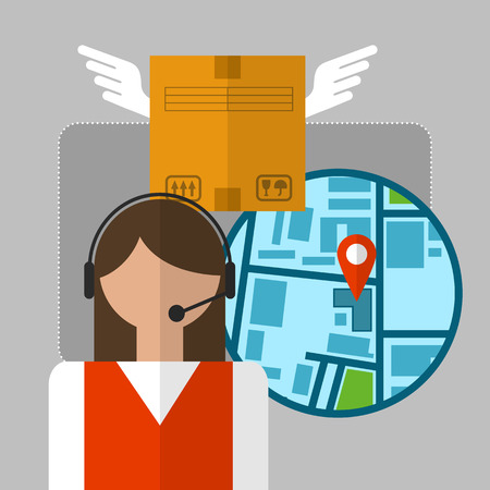 delivery box: Express delivery concept. Support woman clarifies the place of delivery of the box