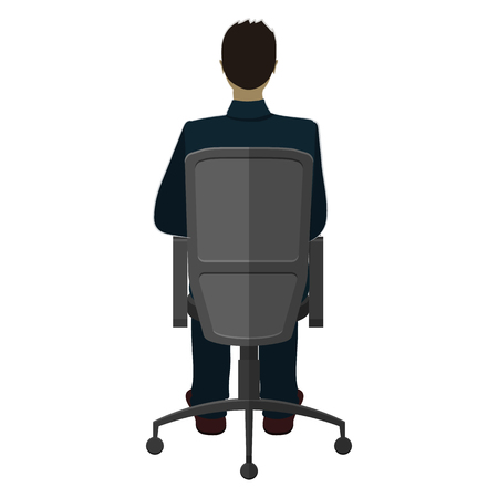 ergonomics: A man in a chair turned away from us