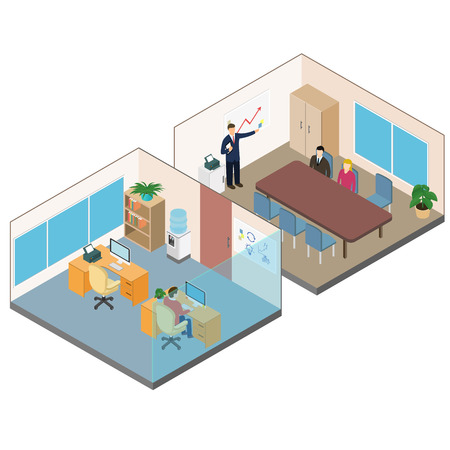 operating room: Isometric office interior. Operating room and a conference room Vectores