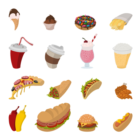 fast eat: Fast food cartoon icons set isolated on white background