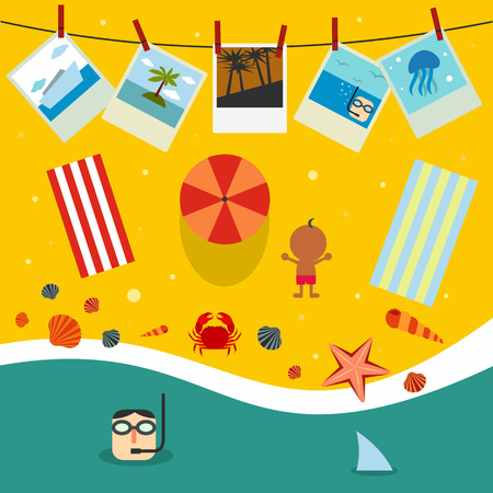 sea side: Summer beach in flat design, sea side and beach items Illustration